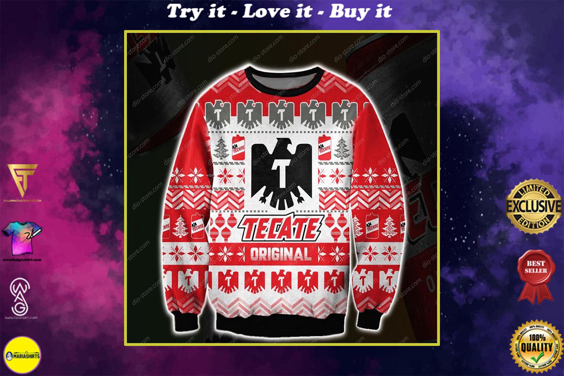 christmas time tecate beer all over printed ugly christmas sweater