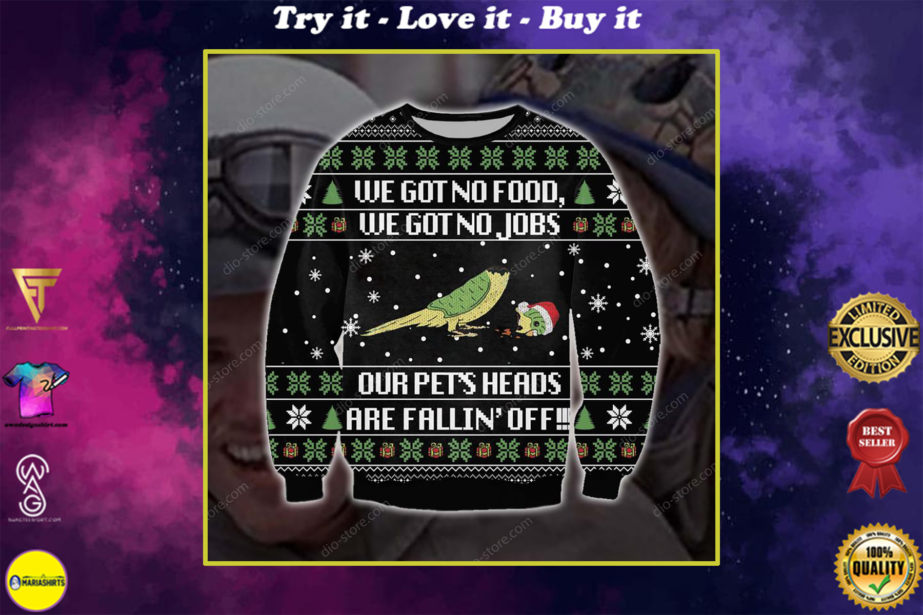 christmas time we got no food we got no jobs our pets heads are falling off ugly christmas sweater