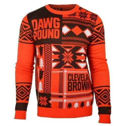 cleveland browns patches ugly christmas sweater 1