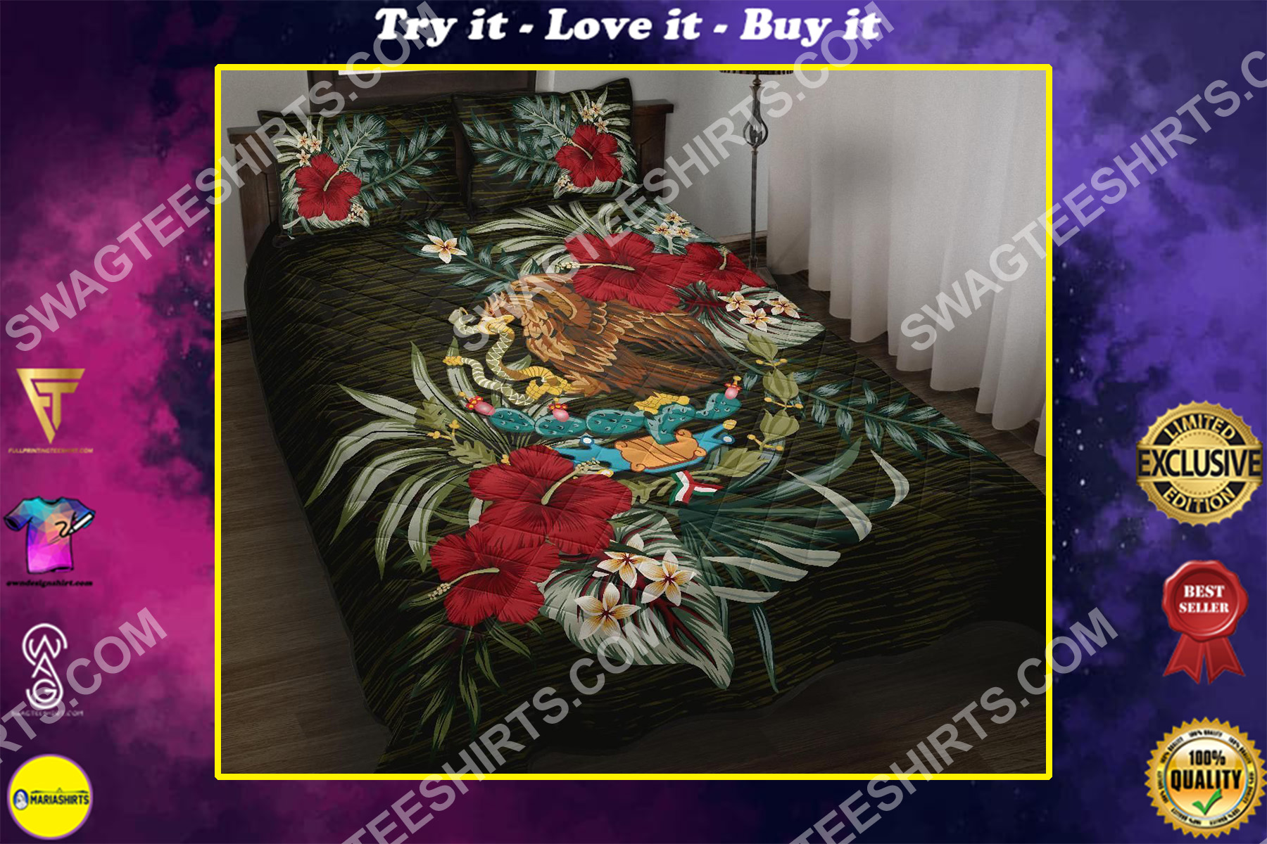 coat of arms of mexico all over printed bedding set
