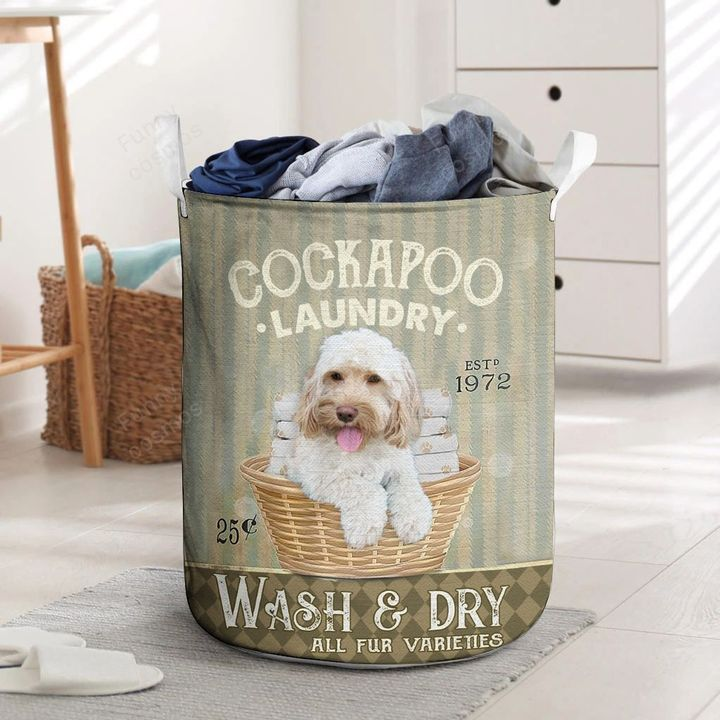 cocka poo dog all over printed laundry basket 3
