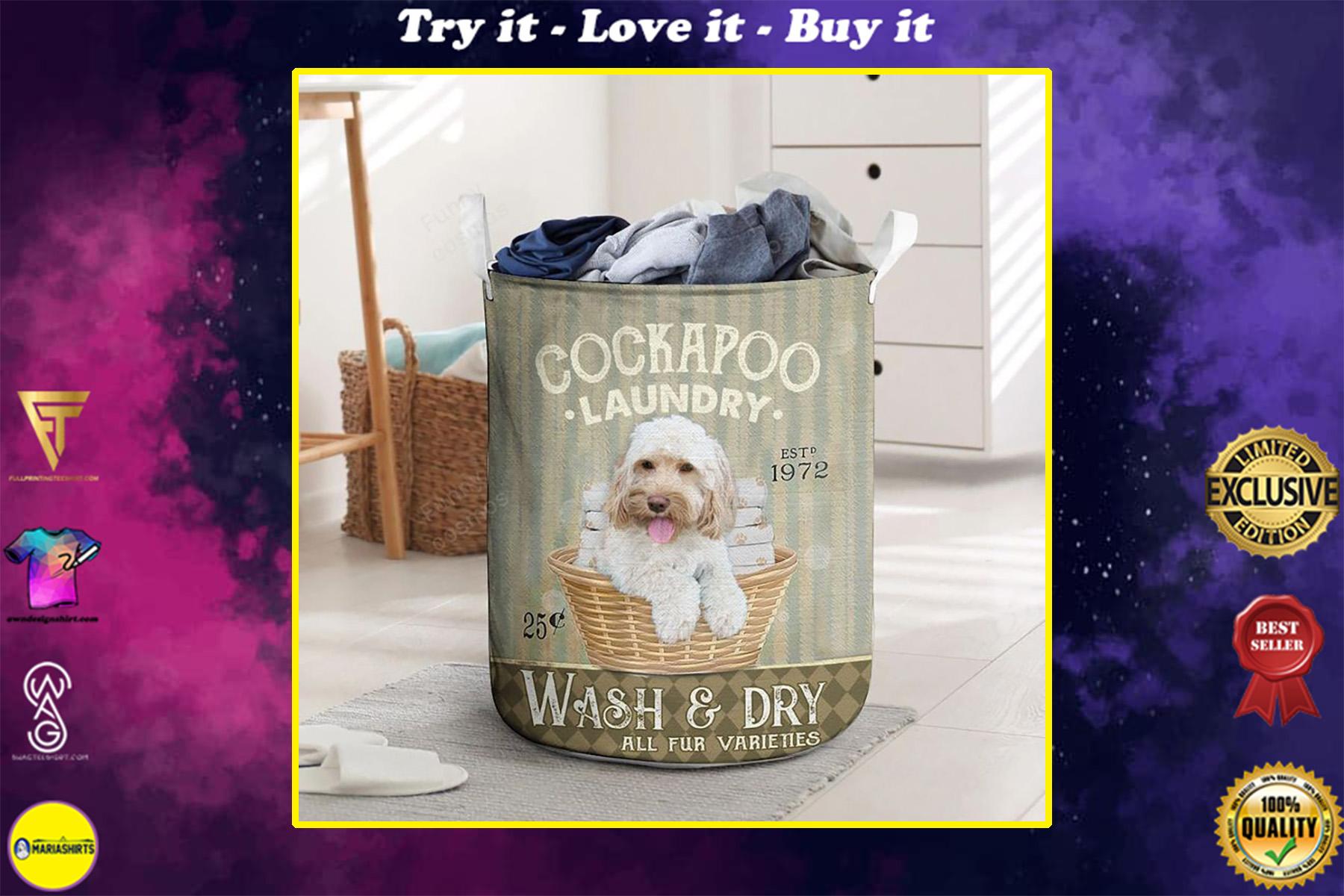 cocka poo dog all over printed laundry basket
