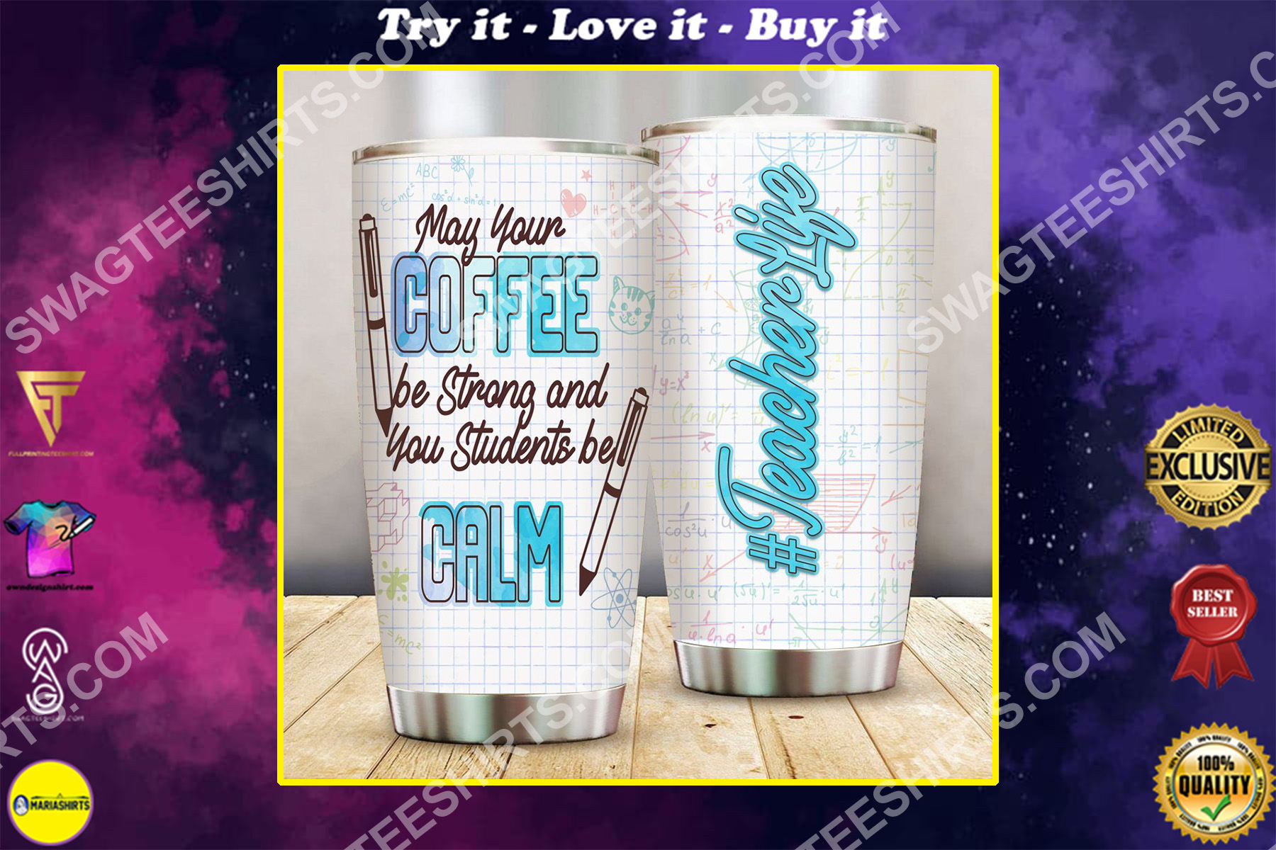 coffee and teacher life all over printed stainless steel tumbler
