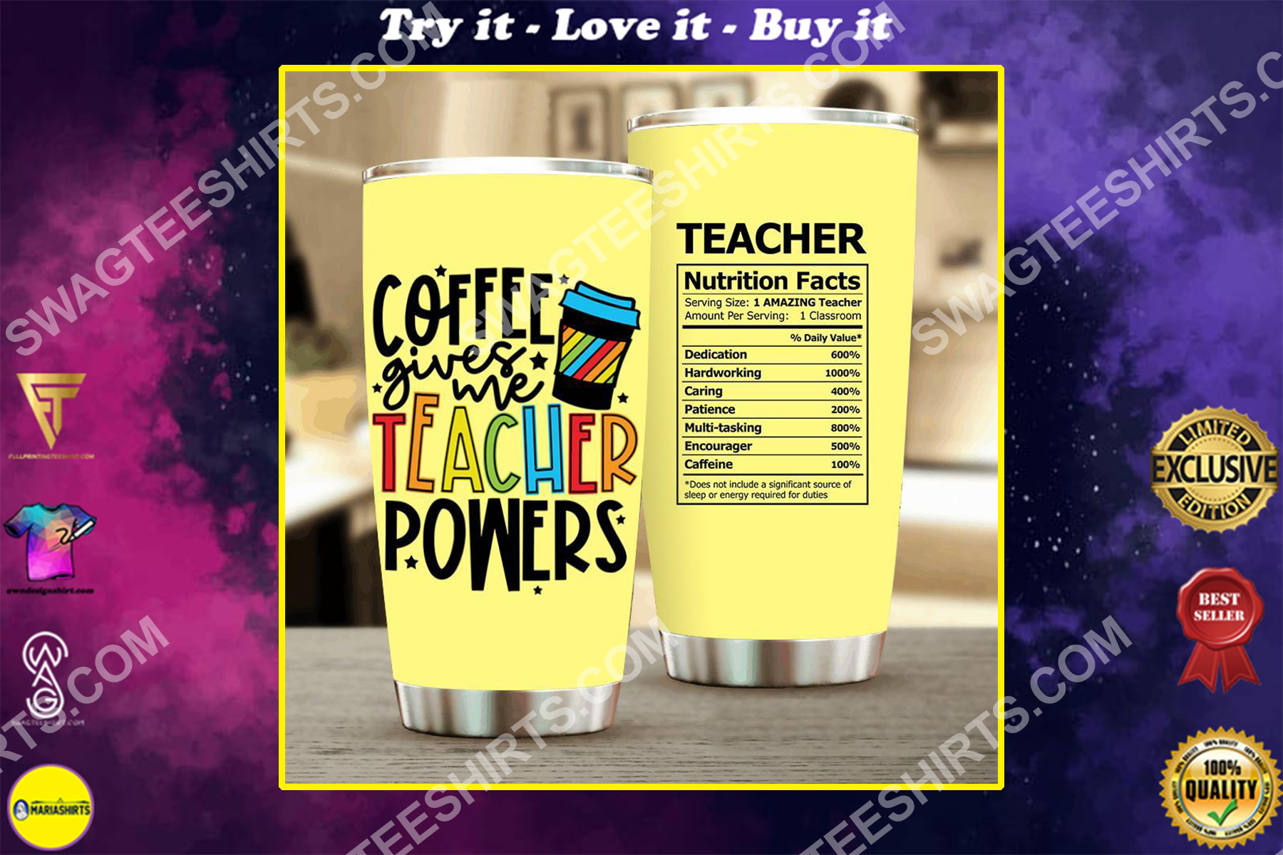 coffee gives me teacher powers all over printed stainless steel tumbler