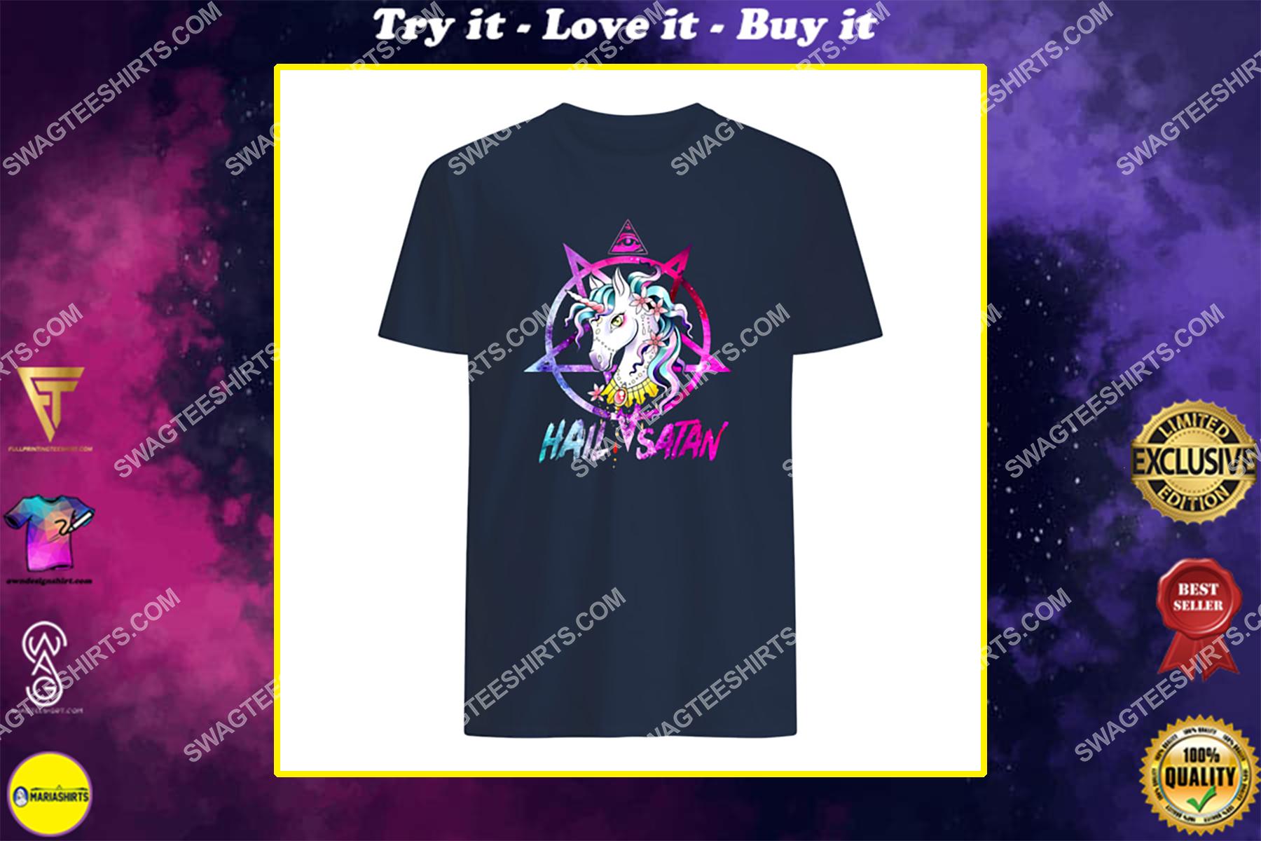 colorful unicorn hail satan satanic halloween shirt