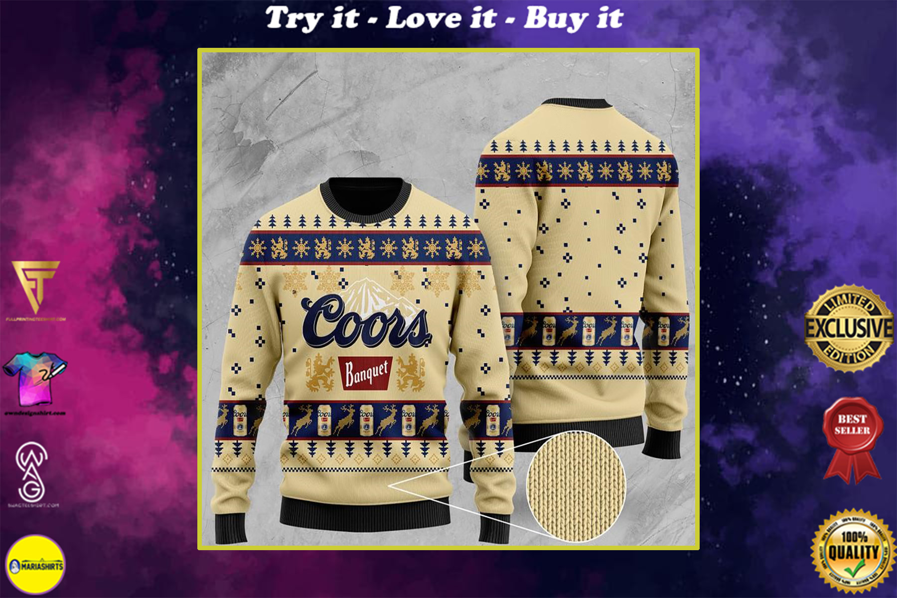 coors banquet all over printed ugly christmas sweater