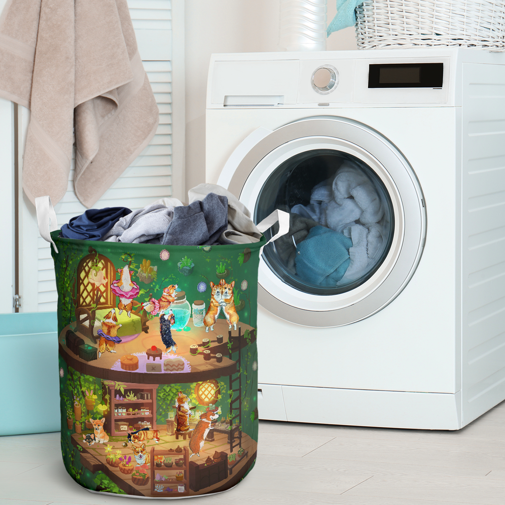 corgi in fairy house all over printed laundry basket 2