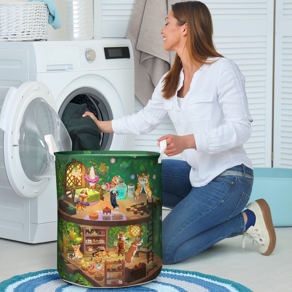 corgi in fairy house all over printed laundry basket 3