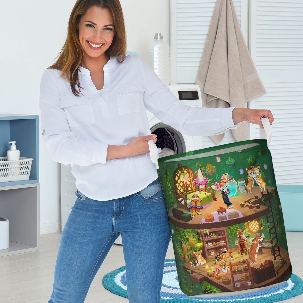 corgi in fairy house all over printed laundry basket 4