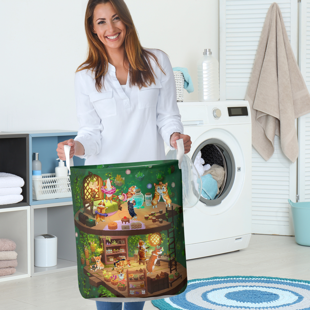 corgi in fairy house all over printed laundry basket 5