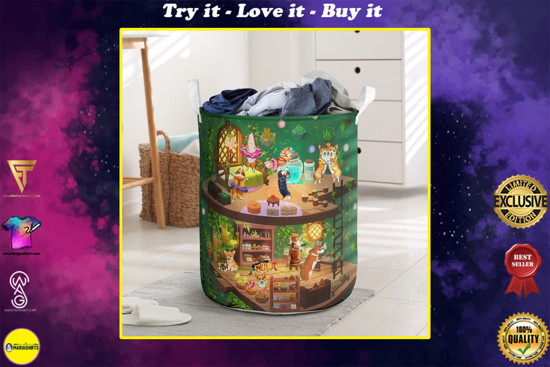 corgi in fairy house all over printed laundry basket