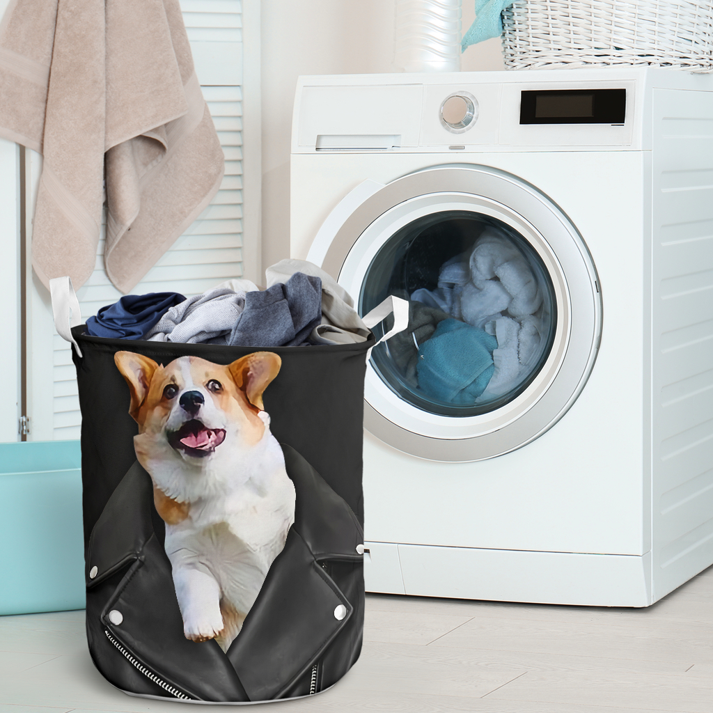 corgi in jacket all over printed laundry basket 2