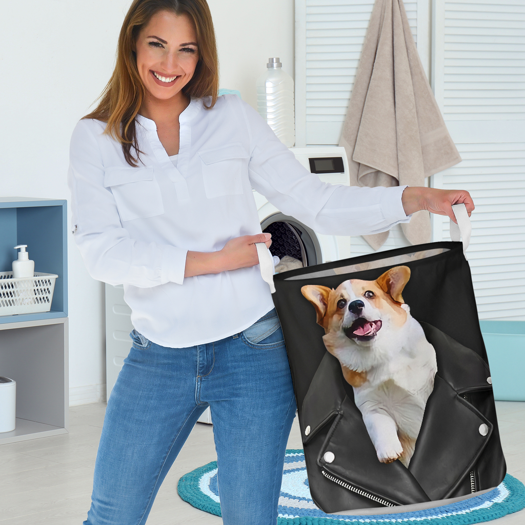 corgi in jacket all over printed laundry basket 3