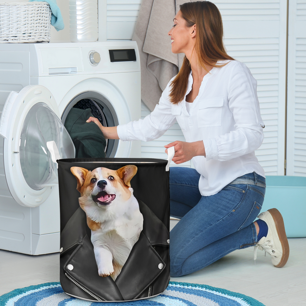 corgi in jacket all over printed laundry basket 4
