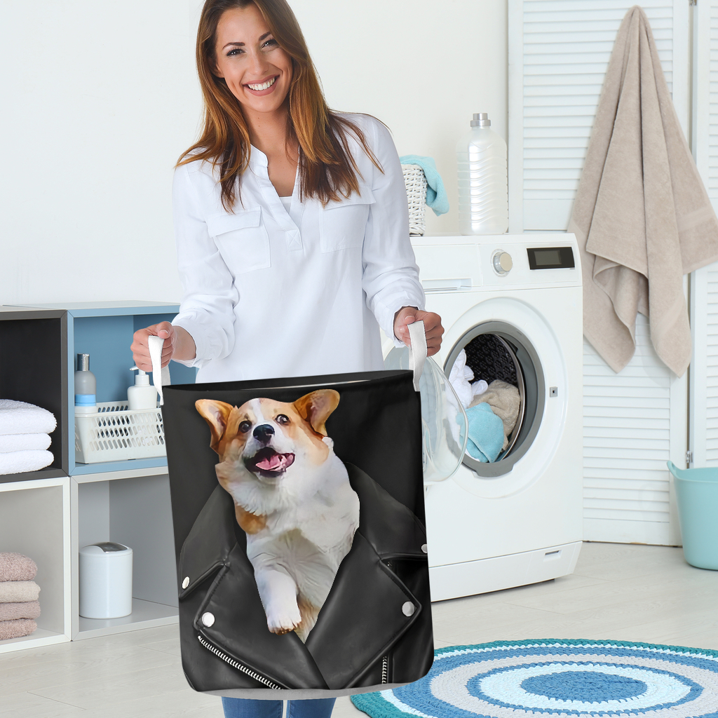 corgi in jacket all over printed laundry basket 5