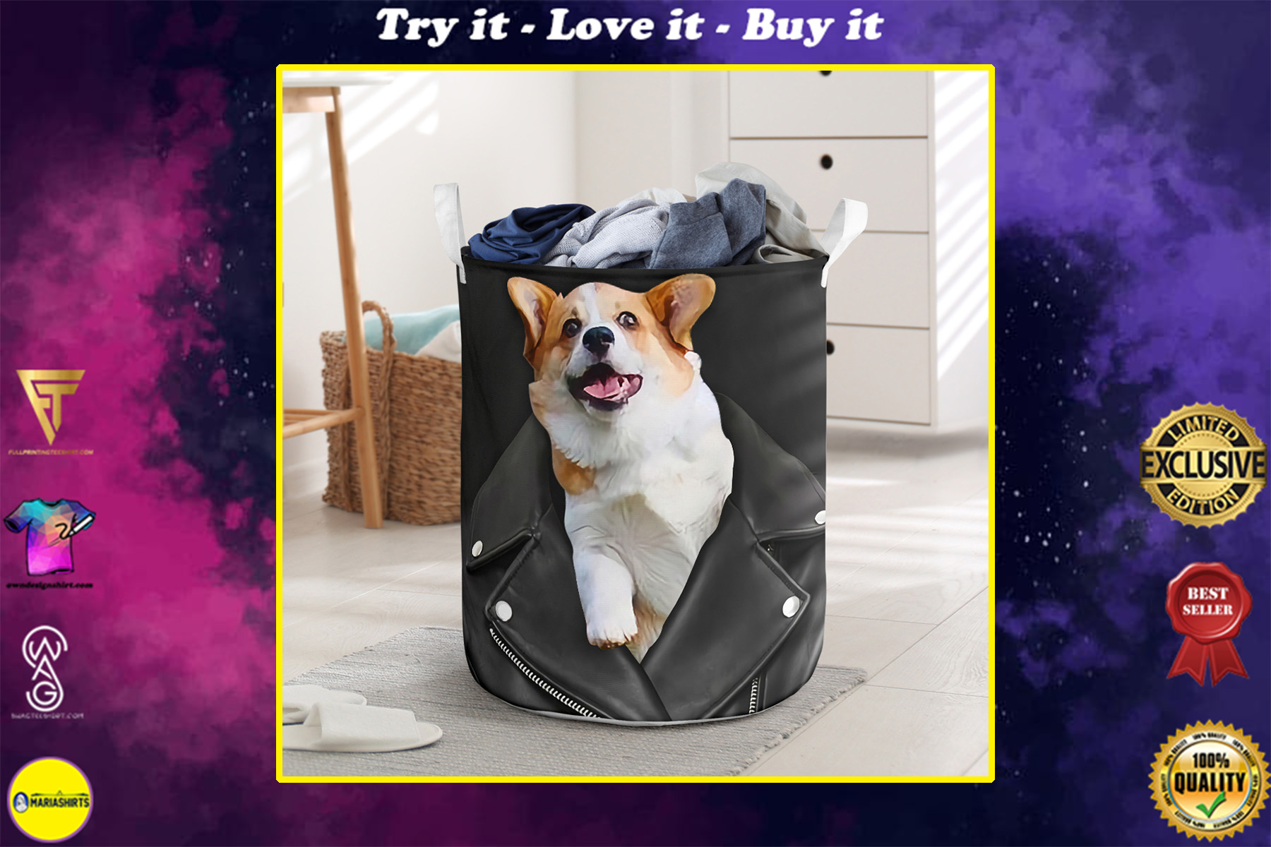 corgi in jacket all over printed laundry basket