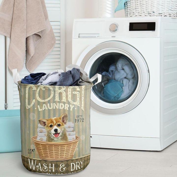 corgi wash and dry all over print laundry basket 2