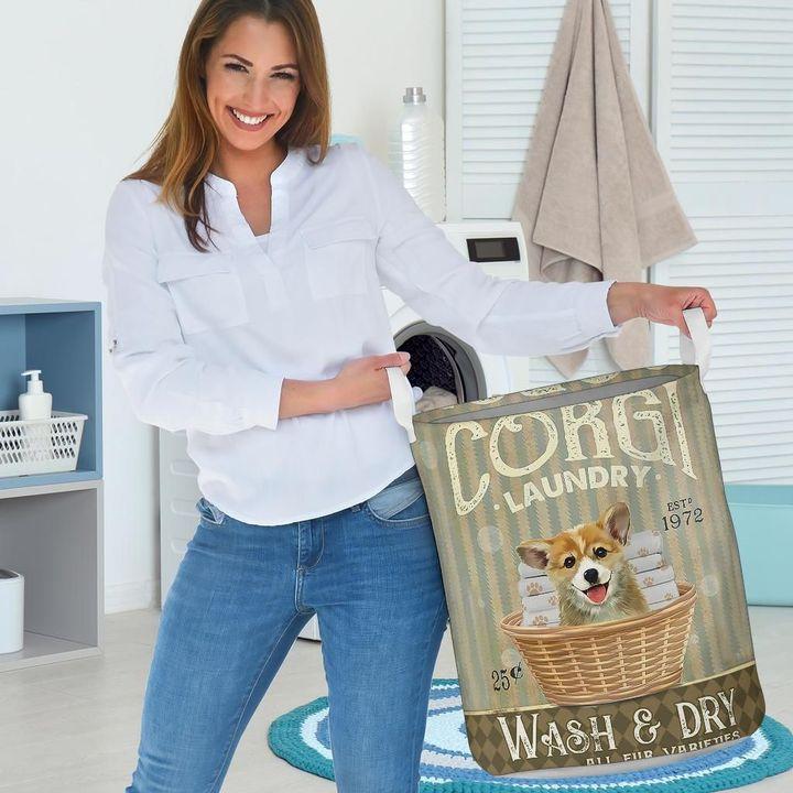 corgi wash and dry all over print laundry basket 3