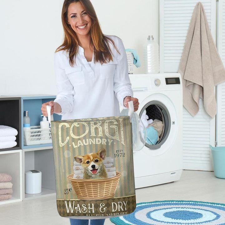 corgi wash and dry all over print laundry basket 5