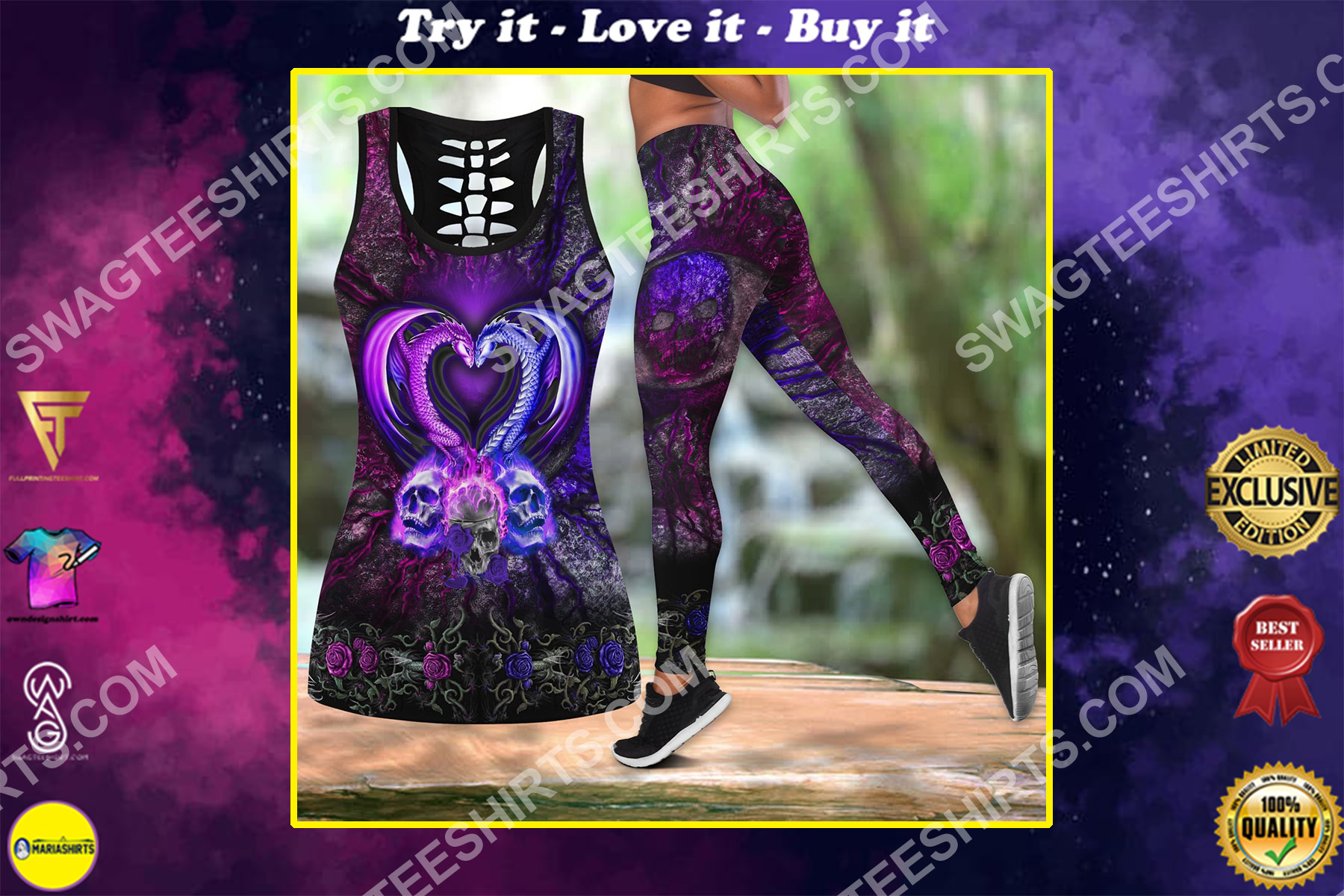 couple dragon and skull all over printed set sports outfit