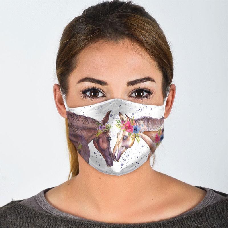 couple horse floral all over print face mask 3
