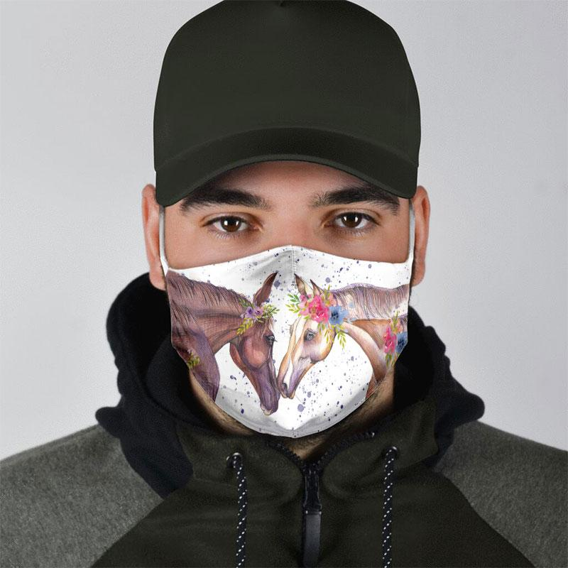 couple horse floral all over print face mask 5