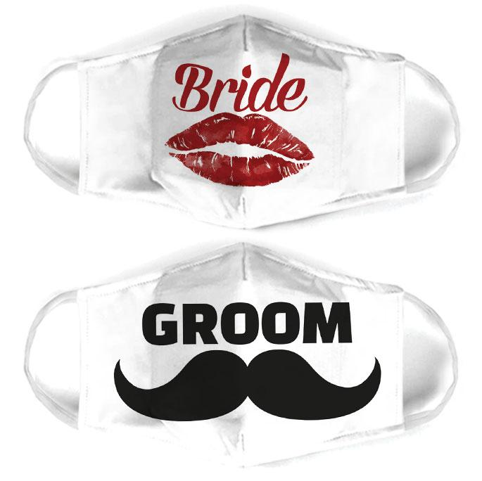 couple love bride and groom all over print face mask 3