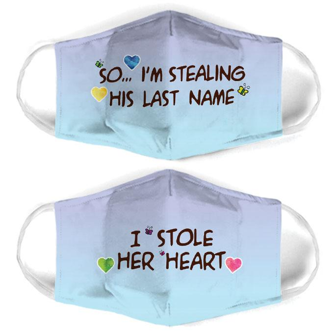 couple love i stole her heart all over print face mask 3