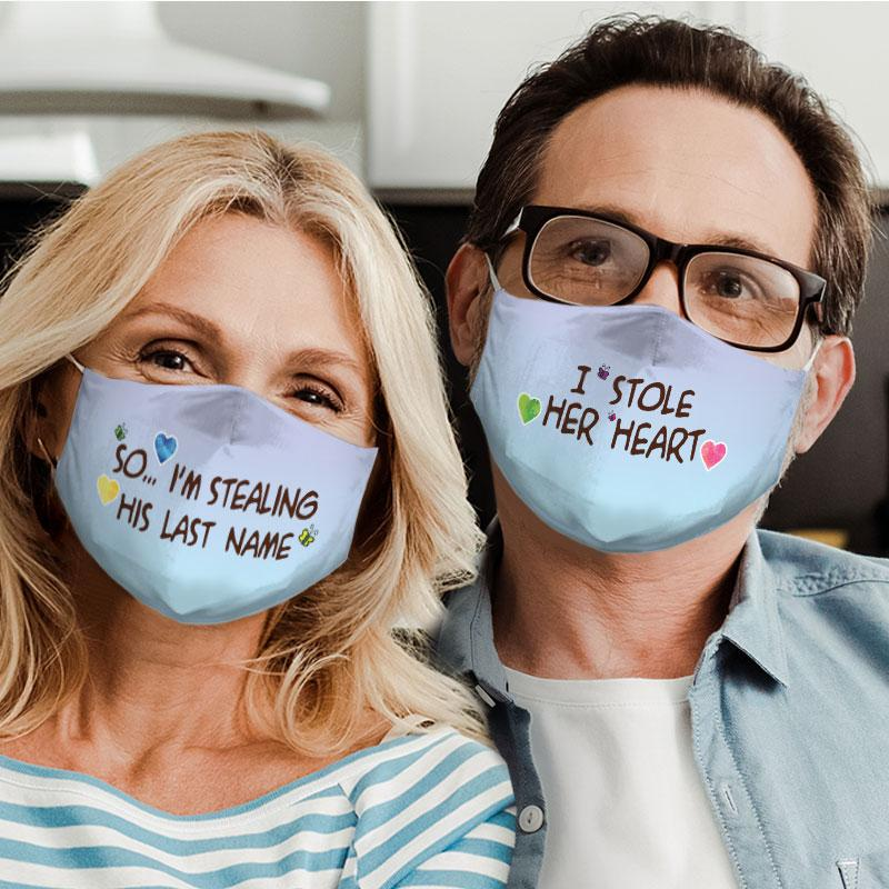 couple love i stole her heart all over print face mask 4