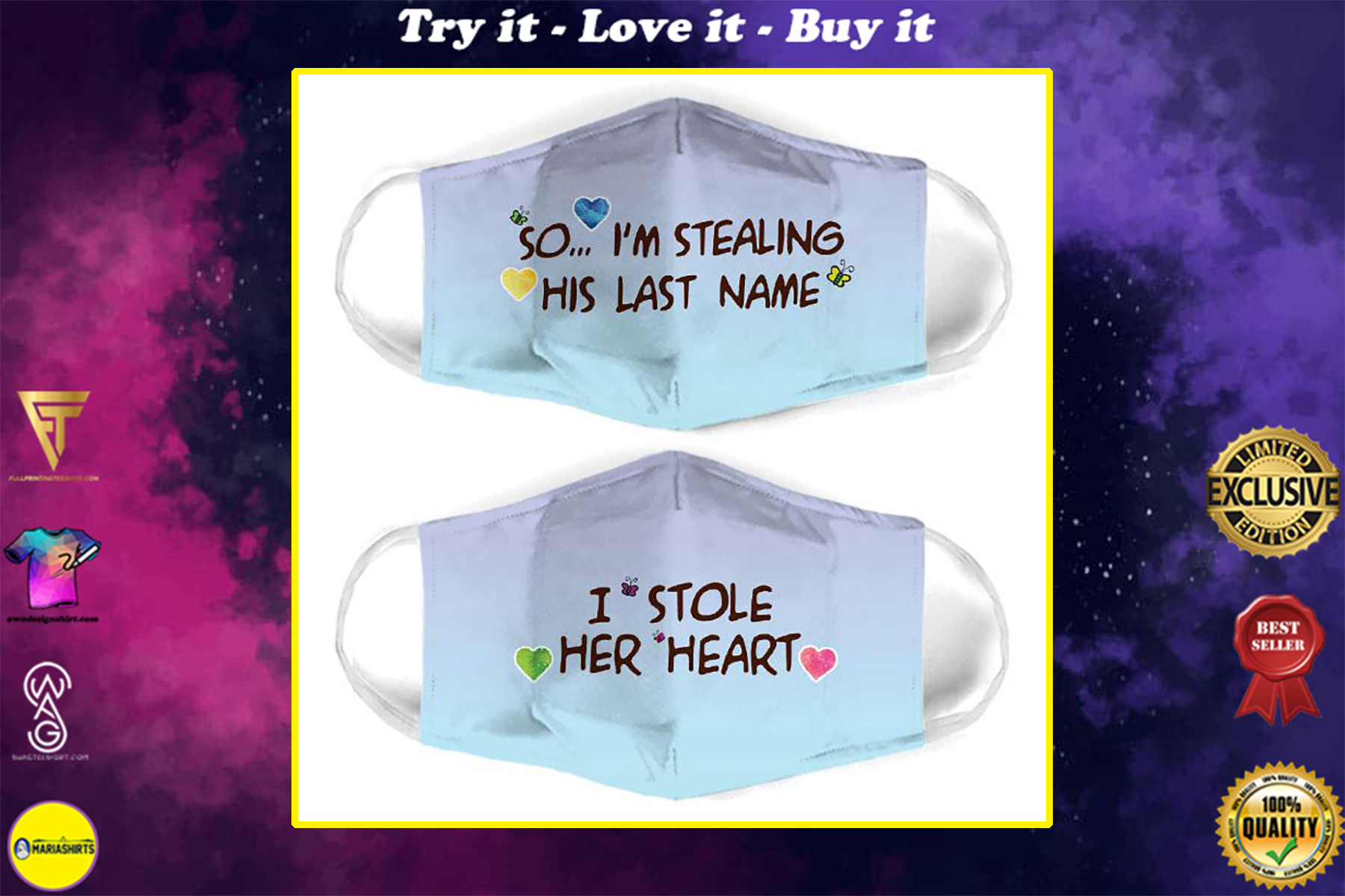 couple love so im stealing his last name all over print face mask