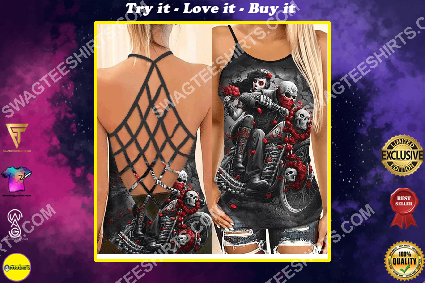 couple skull and roses all over printed strappy back tank top