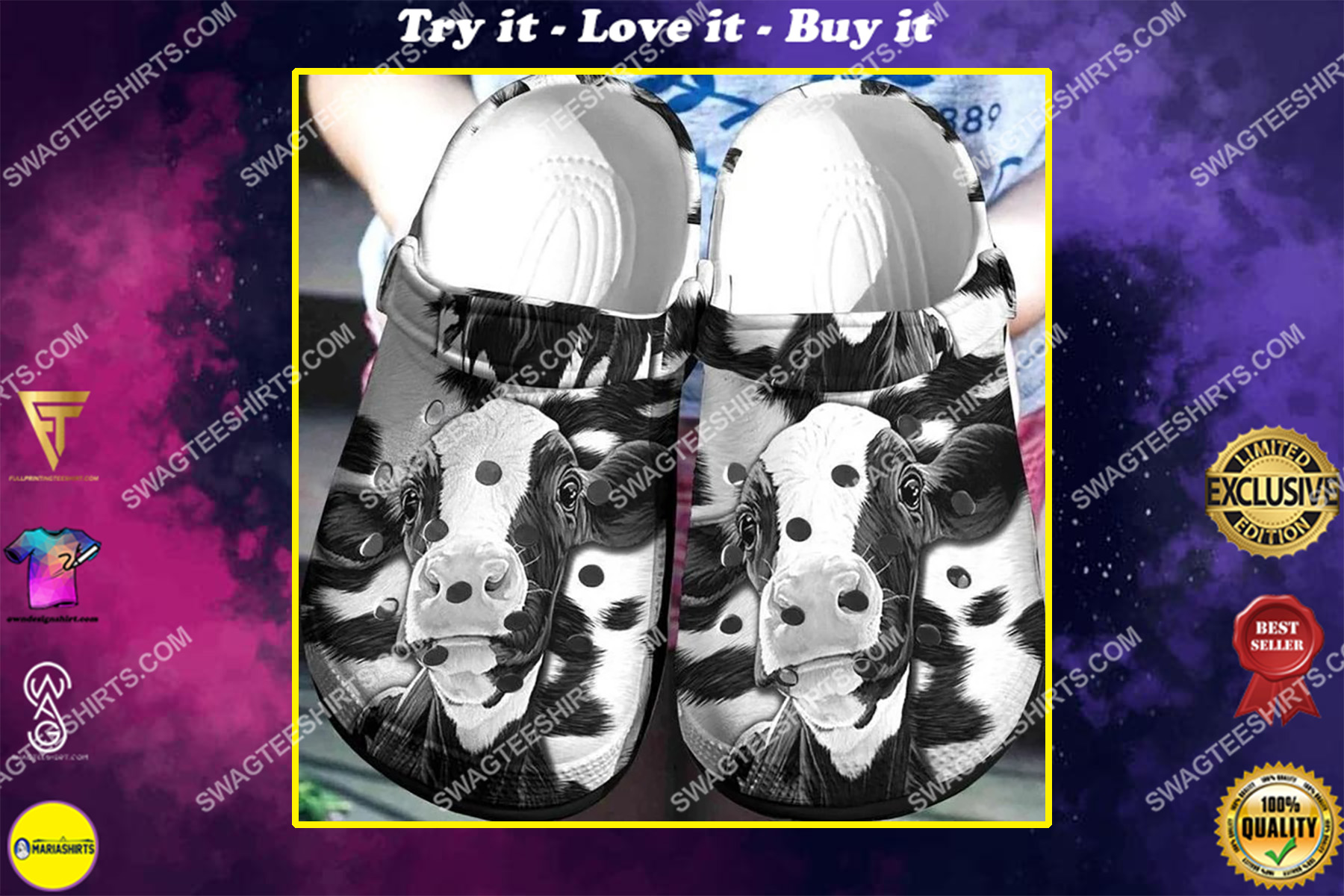 cow black and white all over printed crocs crocband clog