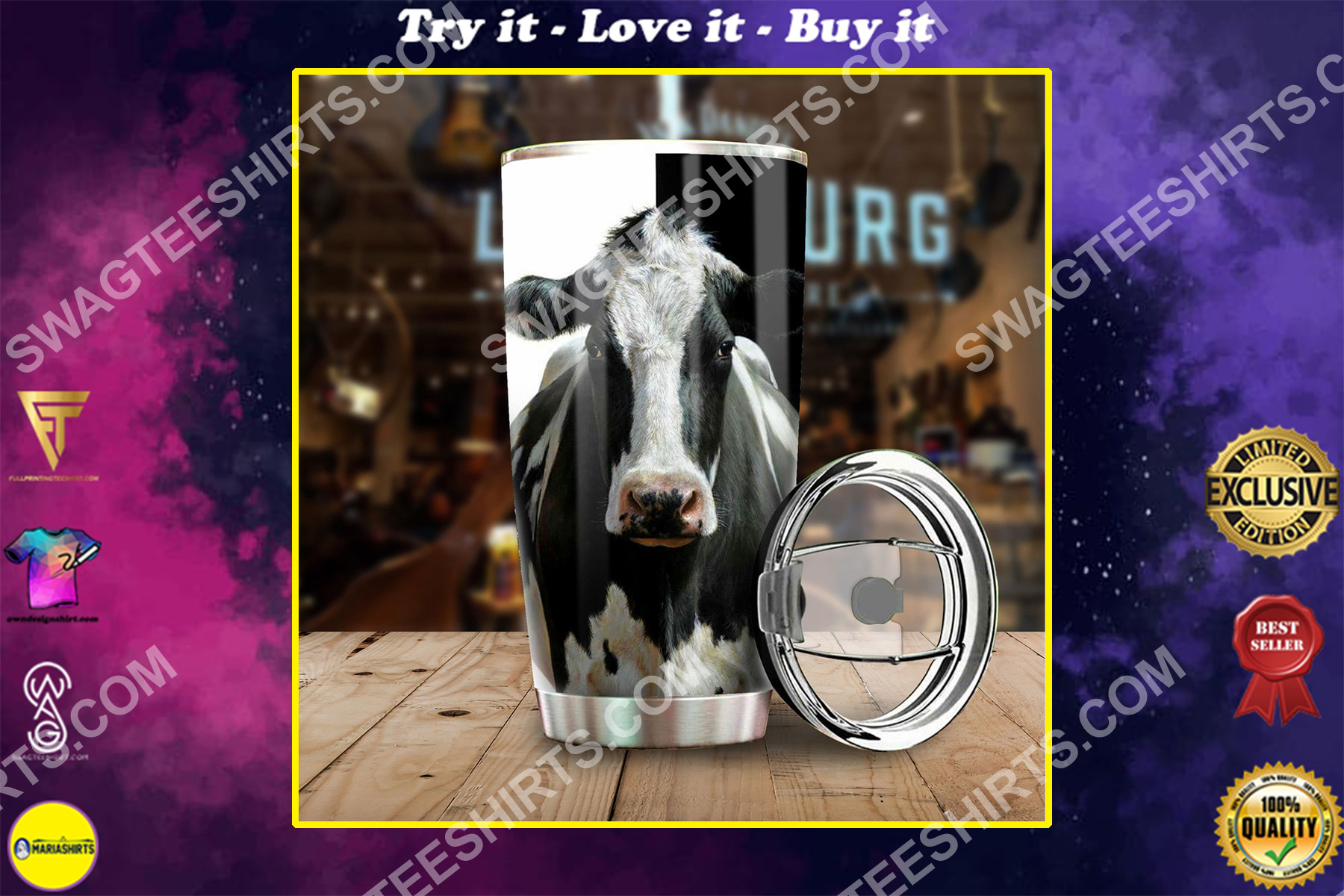 cow farm life all over printed stainless steel tumbler
