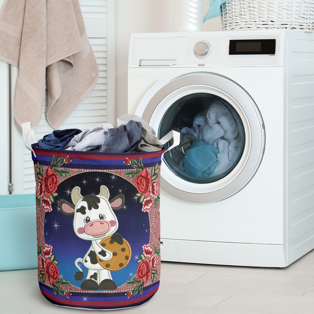 cow floral all over printed laundry basket 2