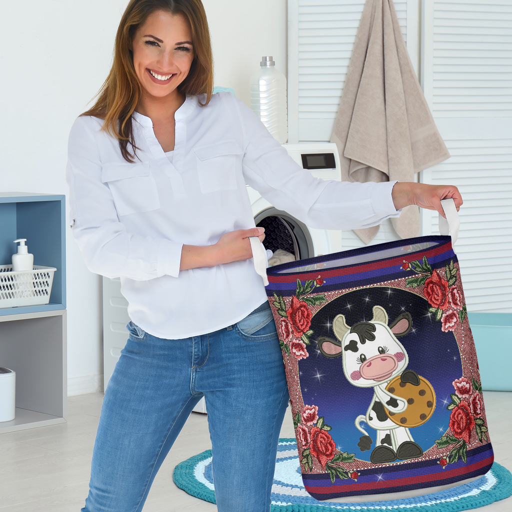 cow floral all over printed laundry basket 3