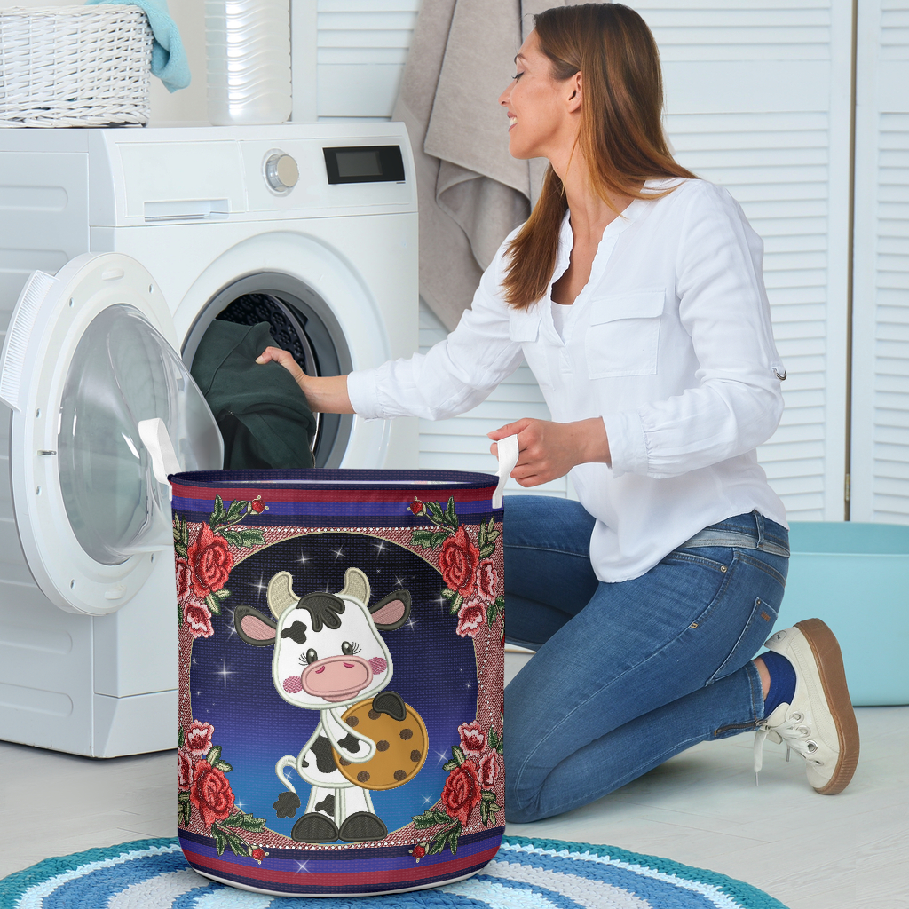 cow floral all over printed laundry basket 4