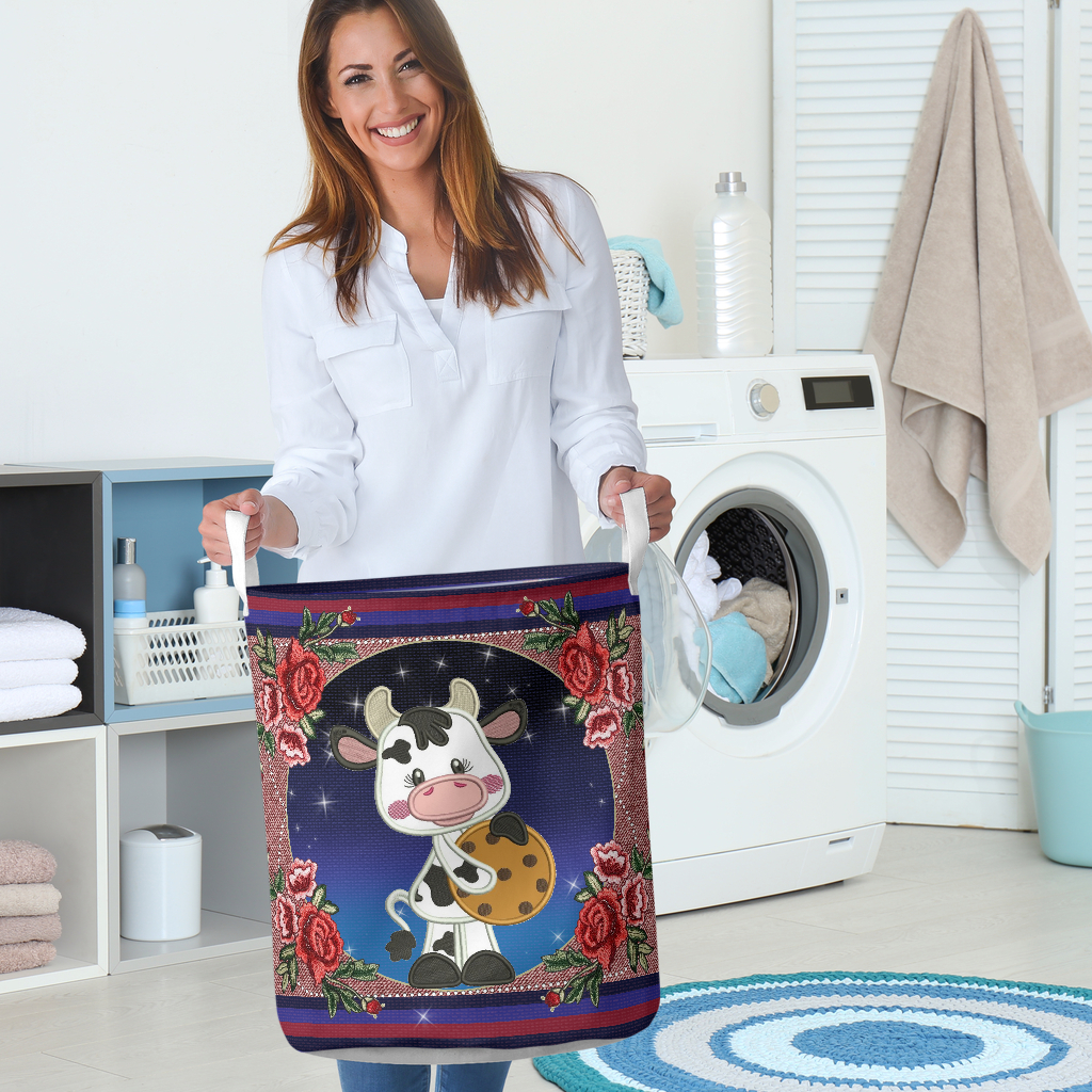 cow floral all over printed laundry basket 5