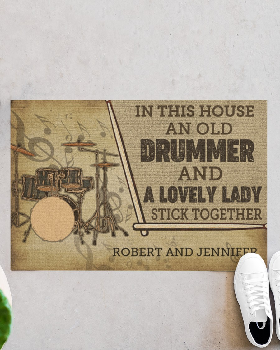 custom in this house an old drummer and a lovely lady all over print doormat 2