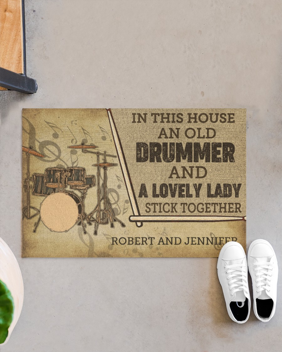 custom in this house an old drummer and a lovely lady all over print doormat 3