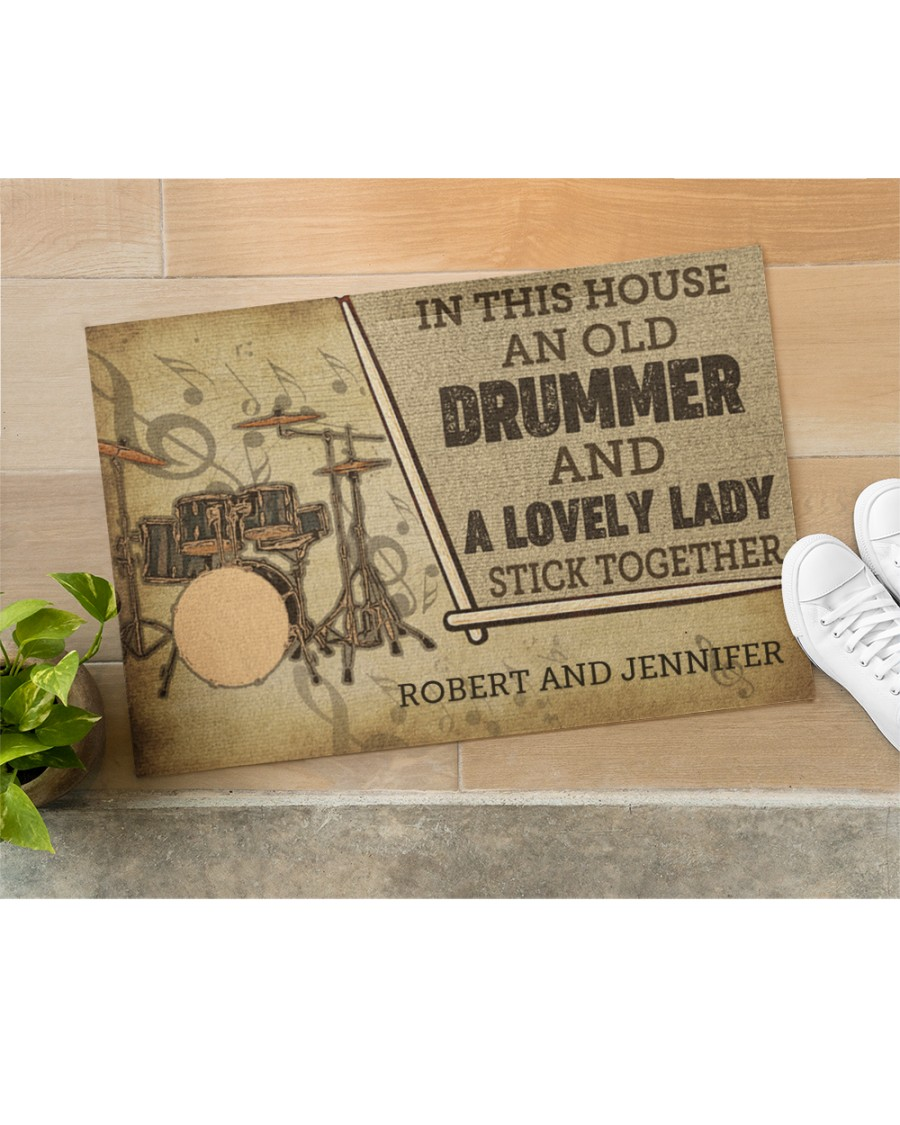 custom in this house an old drummer and a lovely lady all over print doormat 5