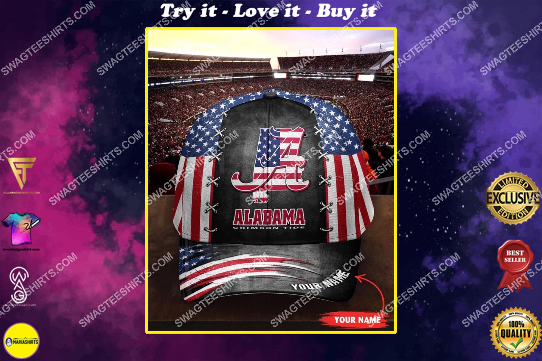 custom name alabama crimson tide and american flag full printing cap