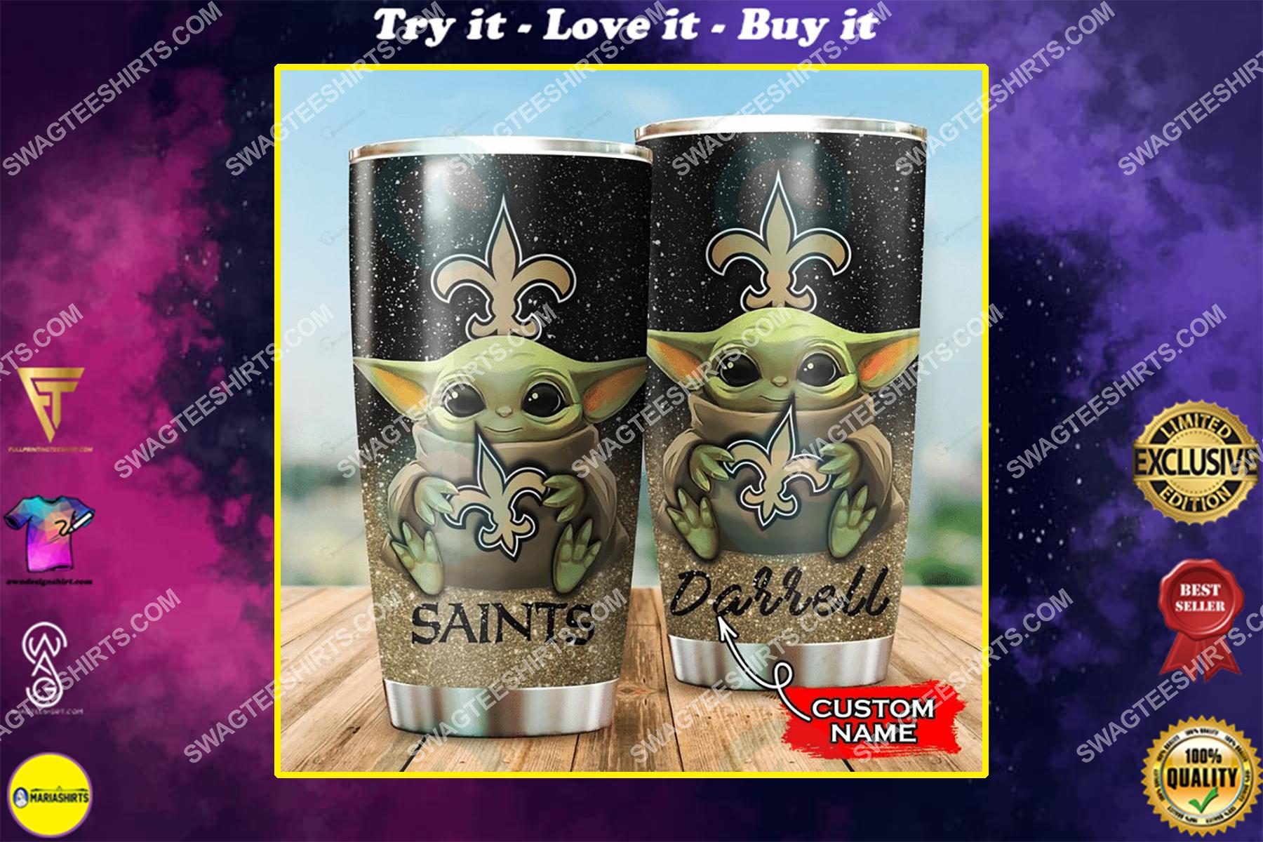 custom name baby yoda and new orleans saints full printing tumbler