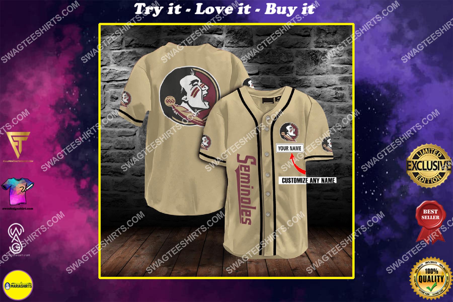 custom name baseball team florida state seminoles full printing baseball jersey