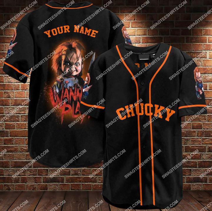 custom name chucky all over printed baseball shirt 1