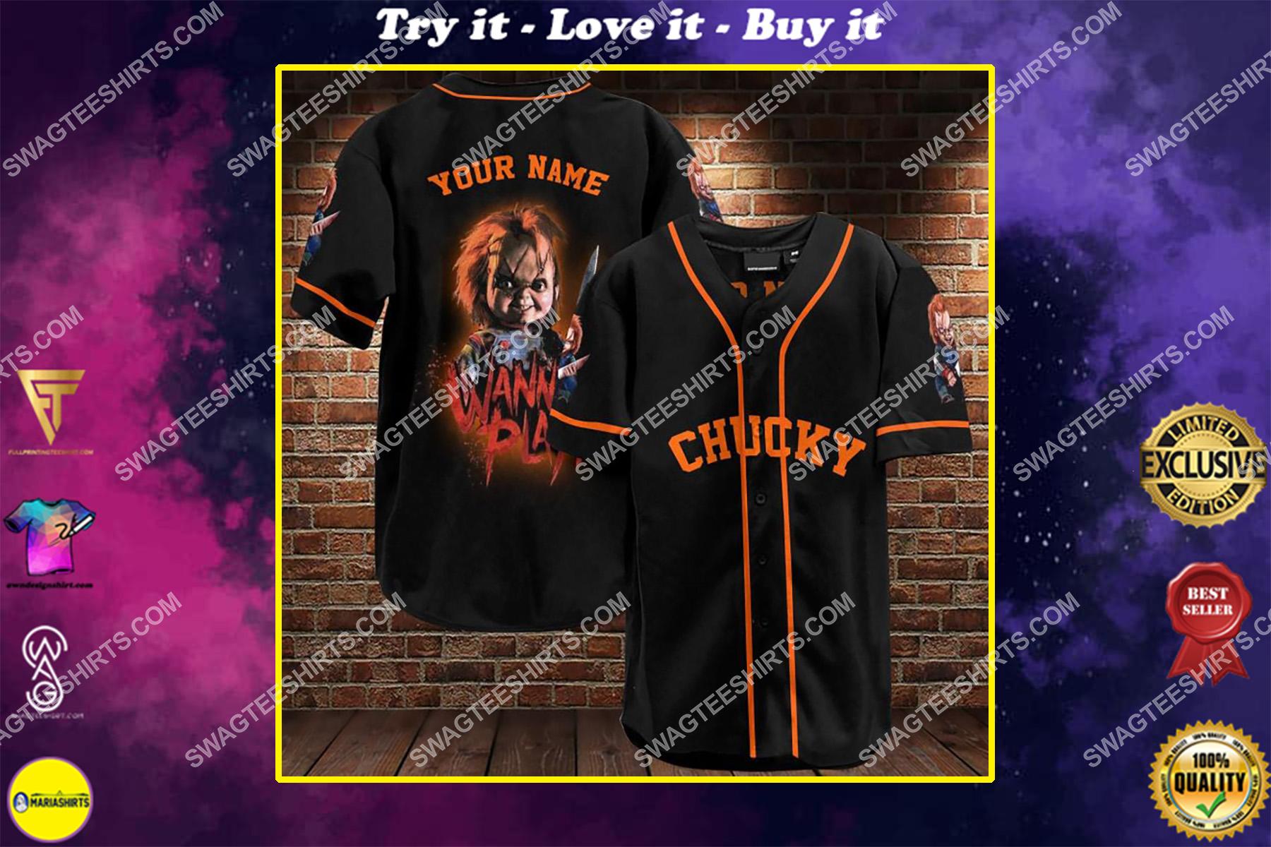 custom name chucky all over printed baseball shirt