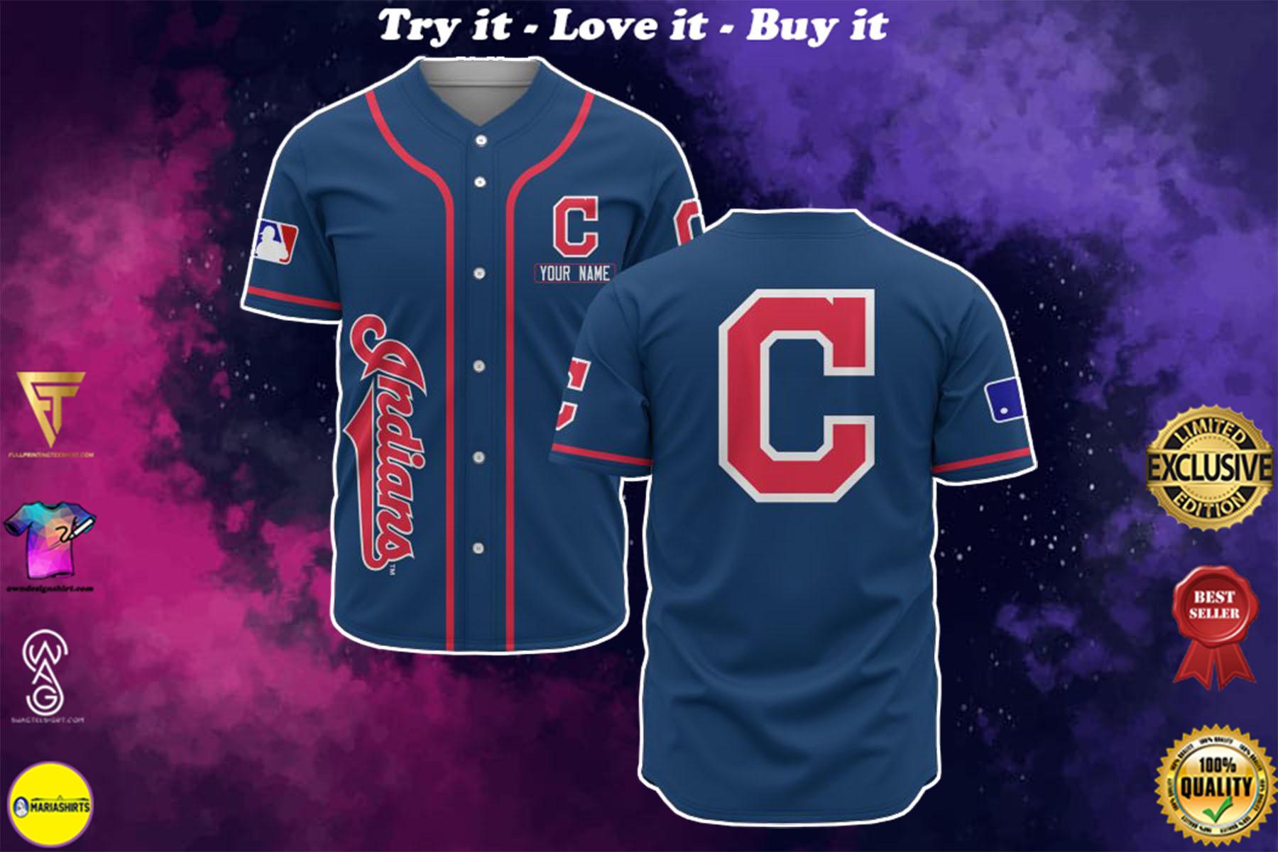 custom name cleveland indians baseball shirt