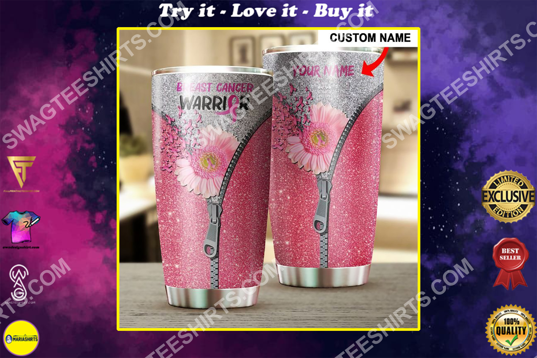 custom name floral breast cancer warrior all over printed stainless steel tumbler