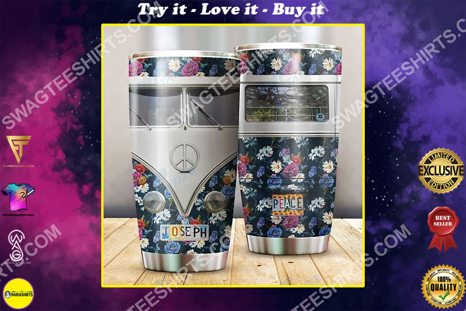 custom name floral hippie peace symbol all over printed stainless steel tumbler