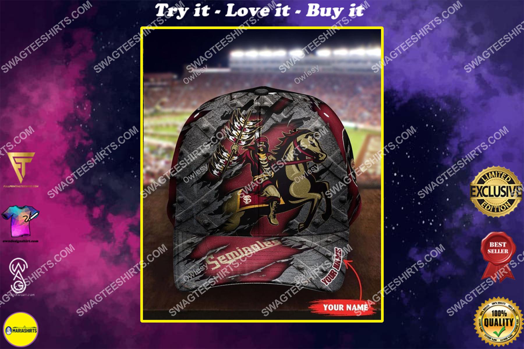 custom name florida state seminoles football full printing cap