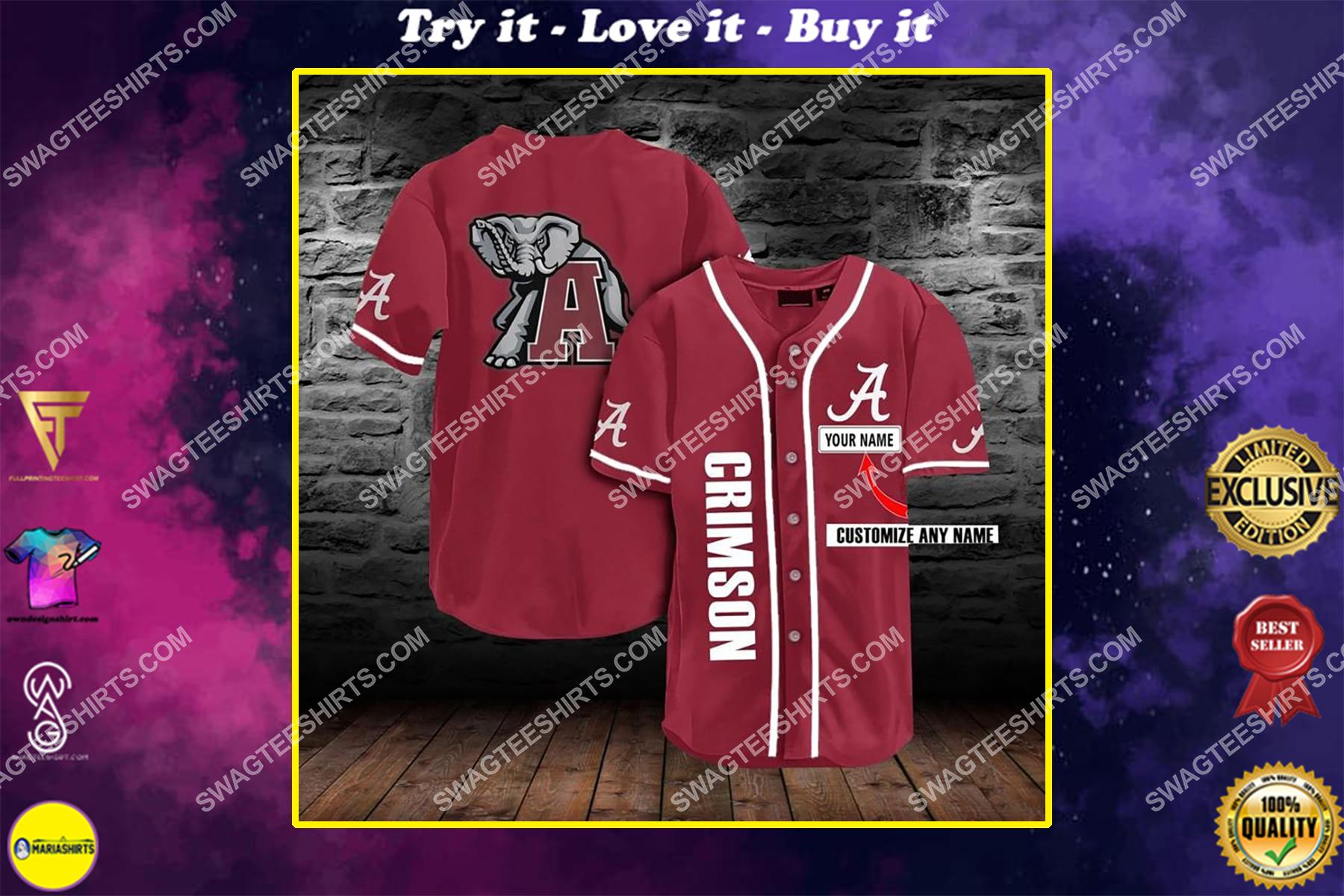 custom name football team alabama crimson tide full printing baseball jersey